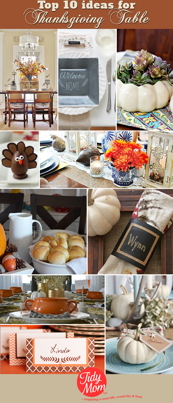Rustic to formal, rolls to dessert, napkins to placecards and more! Everything you need to inspire a beautiful Thanksgiving Table at TidyMom.net