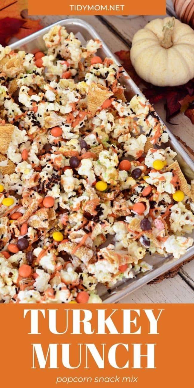 popcorn snack mix on a sheet pan