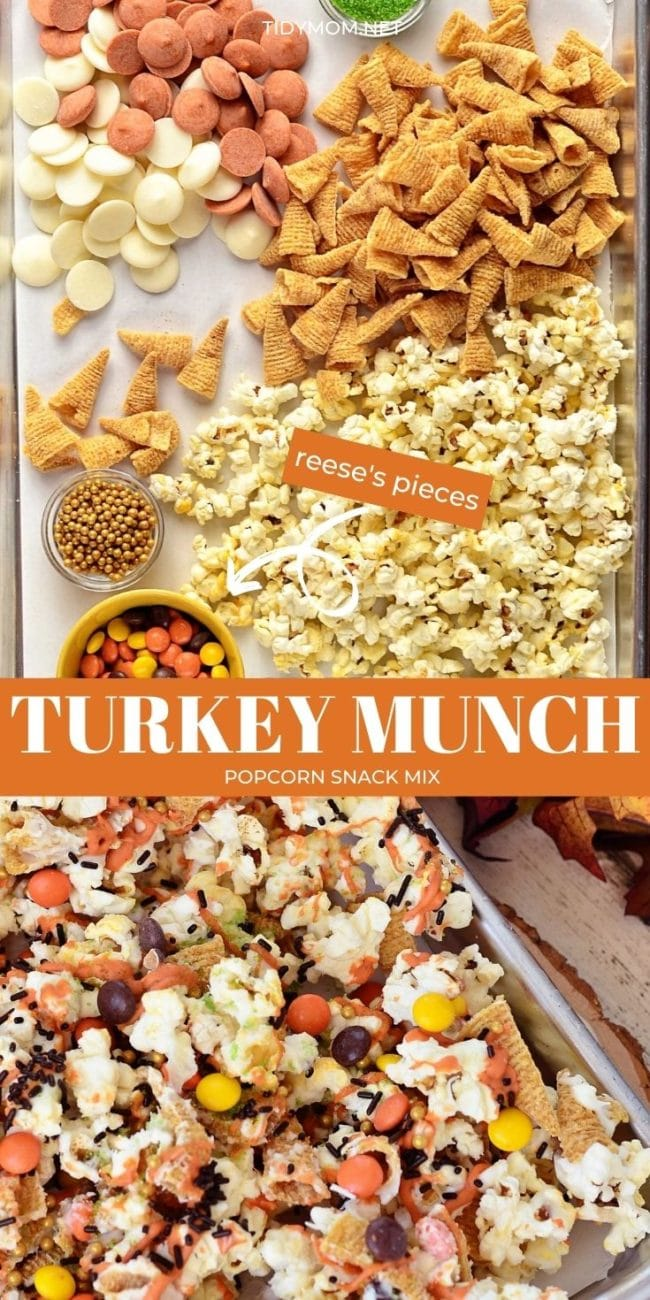 popcorn snack mix and ingredients on a pan