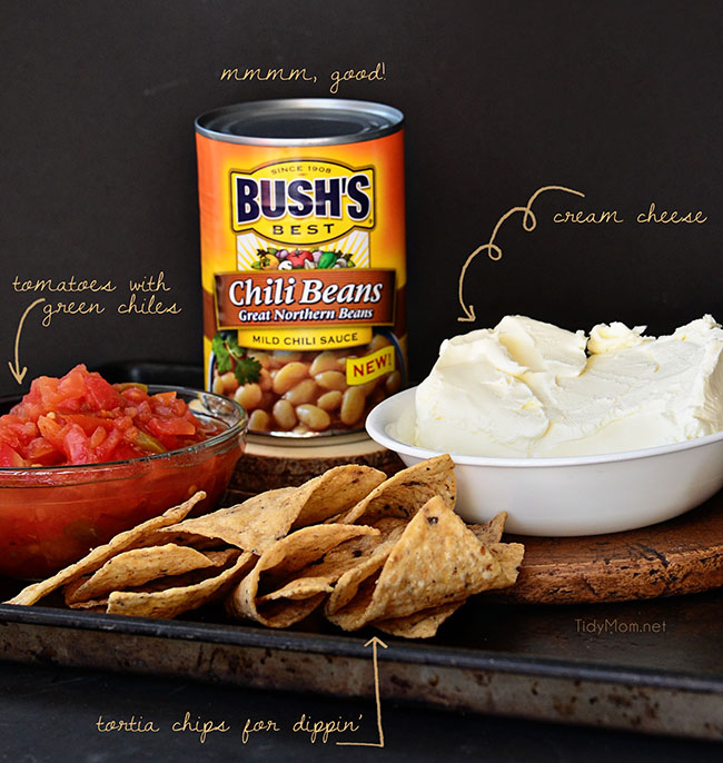 White Chili Bean Queso Dip with zesty tomatoes, cheese and Bush's white chili beans is sure to be a hit at any party or snack time. recipe at Tidymom.net