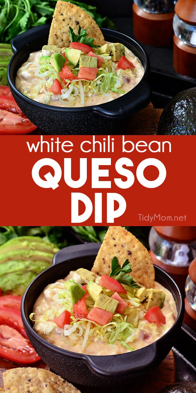 White Chili Bean Queso Dip with zesty tomatoes, cheese and Bush's white chili beans served warm with tortilla chips is sure to be a hit at any party or snack time. Print recipe at Tidymom.net #dip #beans #queso #appetizer #footballfood