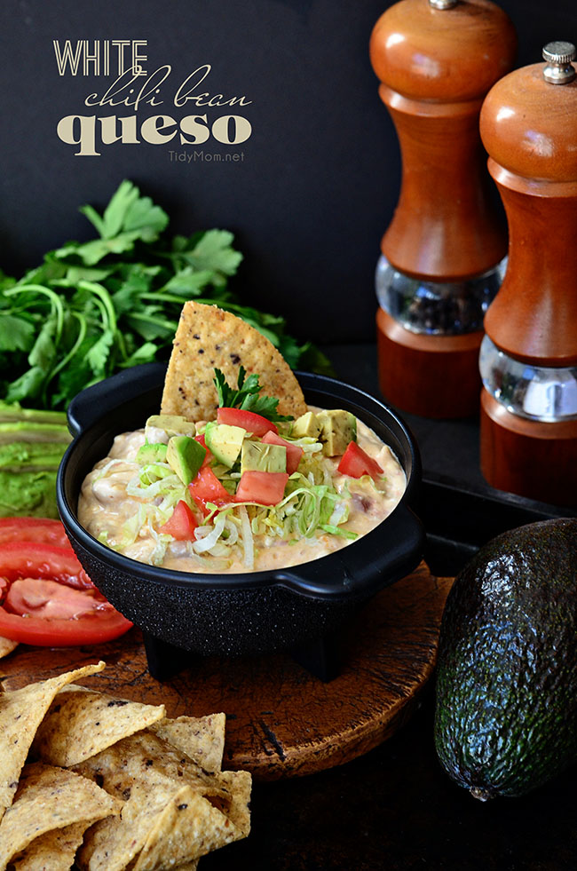 White Chili Bean Queso Dip with zesty tomatoes, cheese and Bush's white chili beans served warm with tortilla chips is sure to be a hit at any party or snack time. recipe at Tidymom.net