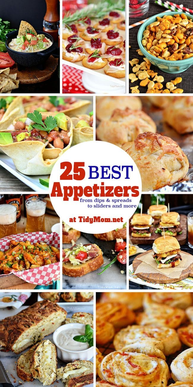 Party Ready! 25 Best Appetizer Recipes - from dips and spreads to siders and more. Get Easy Party Appetizers and Cocktails recipes at TidyMom.net