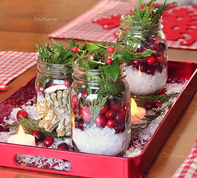 Cranberry centerpiece tidymom for Artificial cranberries decoration