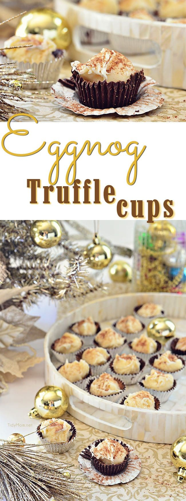 Eggnog Truffles in Chocolate Cups photo collage