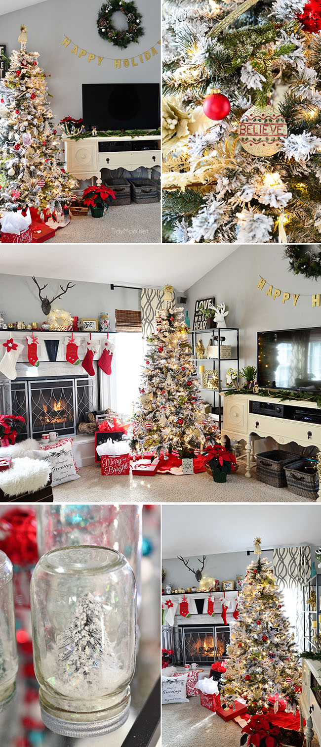 Flocked Christmas Tree +Holiday Home Tour at TidyMom.net
