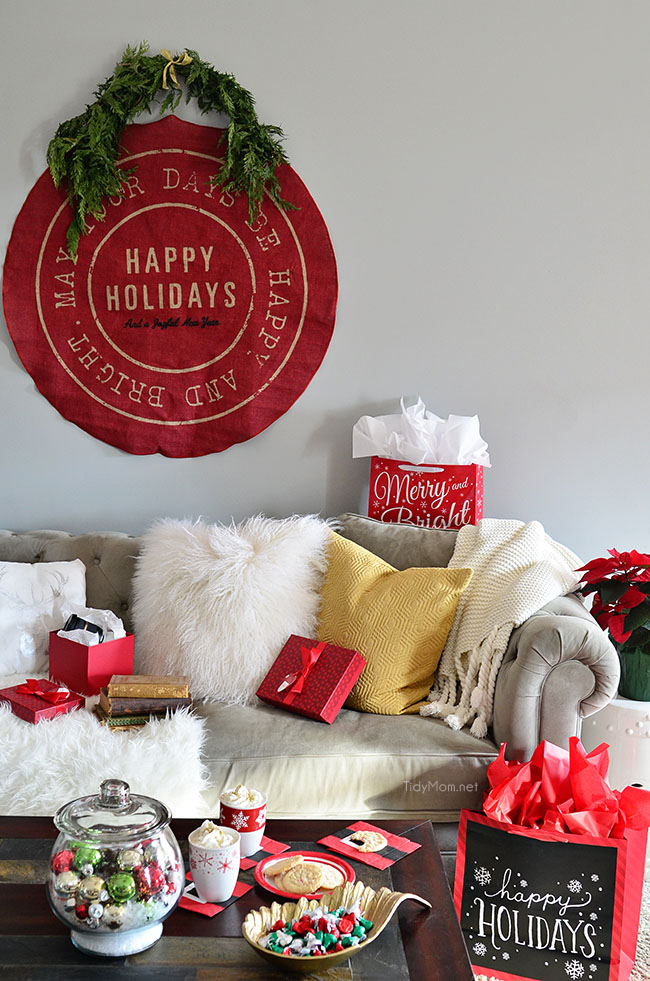 Christmas Holiday Home Tour at TidyMom.net Happy Holidays wall hanging
