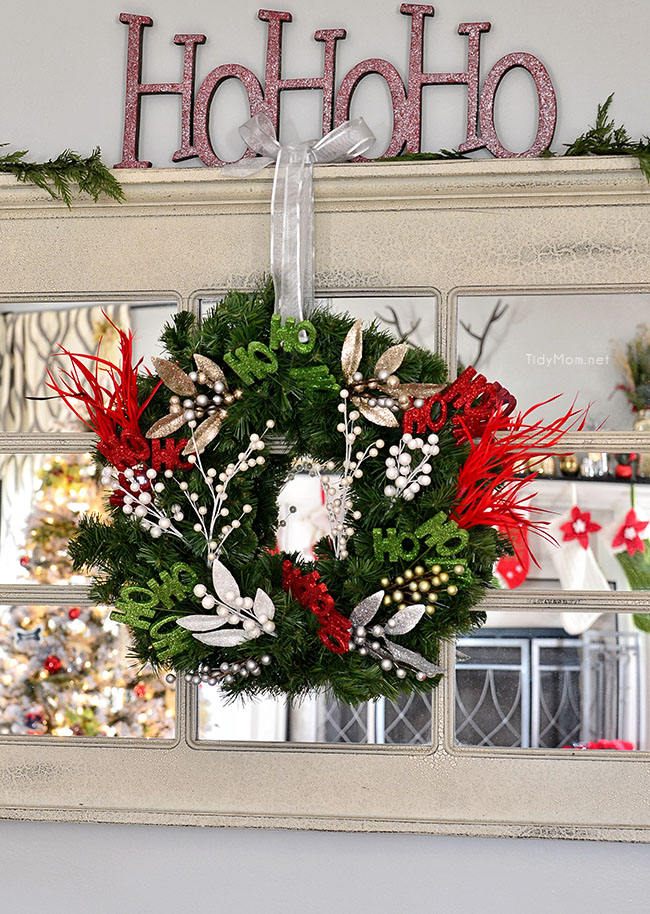 DIY Ho Ho Ho Christmas Wreath at TidyMom.net