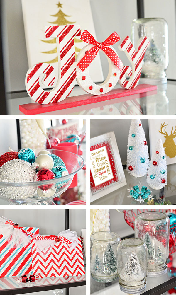 turquoise and red christmas decor at tidymomnet christmas home tour