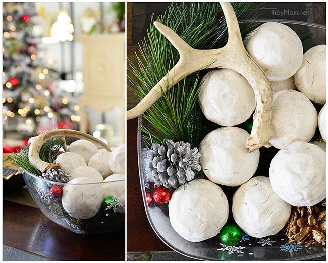 Snowballs, antlers and pinecones. TidyMom.net