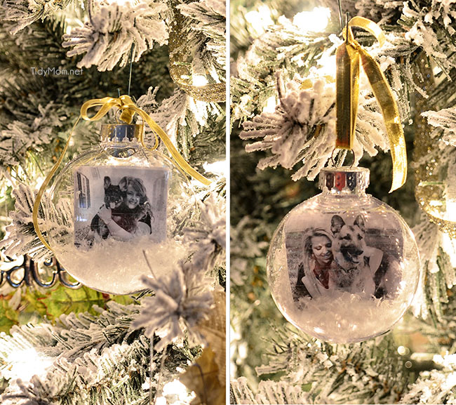 Easy DIY snowglobe photo ornament tutorial at TidyMom.net