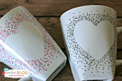 Confetti painted Valentines Day Mugs