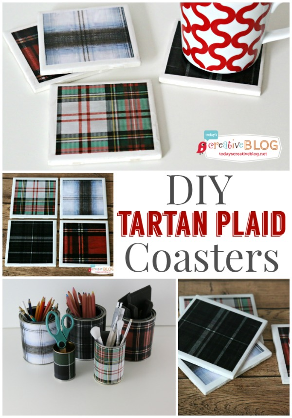 Easy DIY Tartan Plaid Coasters tutorial at TidyMom.net