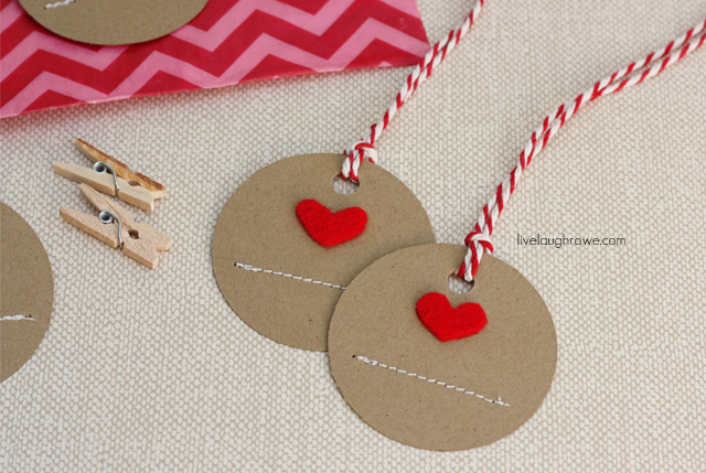 Handmade Heart Gift Tags with livelaughrowe.com