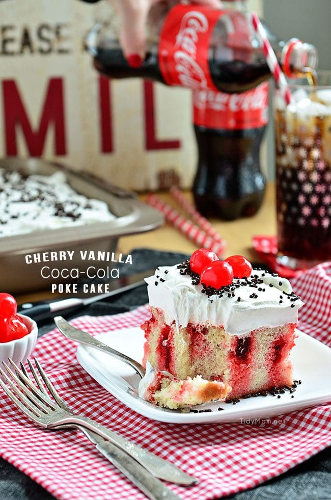 Cherry Vanilla Coca Cola Poke Cake recipe at TidyMom.net