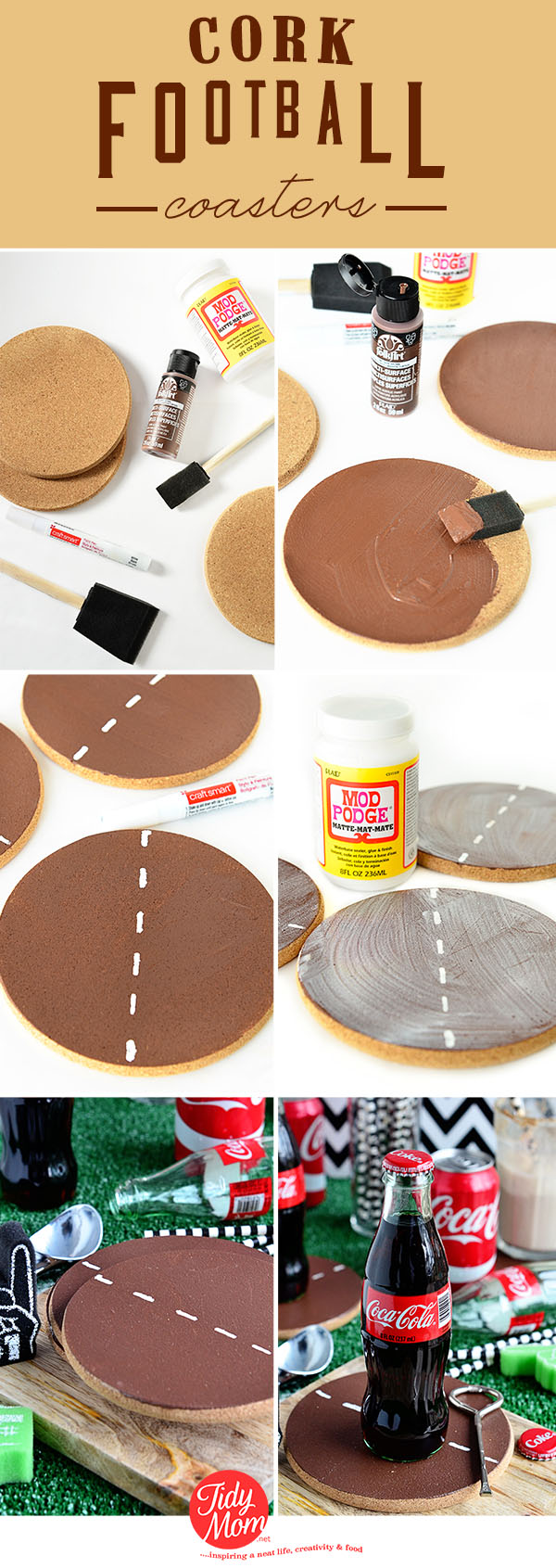 DIY Cork Football Coasters tutorial at TidyMom.net