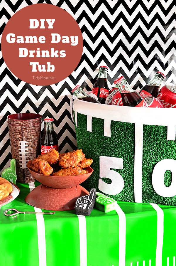 DIY Football Drink Tub - great for home bowl parties! details and game day recipes at TidyMom.net