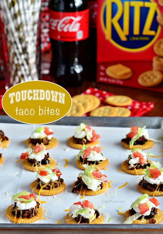 Touchdown Taco Bites perfect appetizer recipe for football sunday!