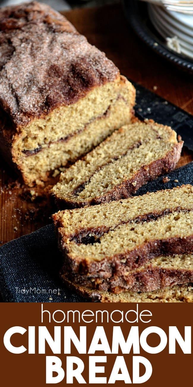 a loaf of cinnamon bread sliced