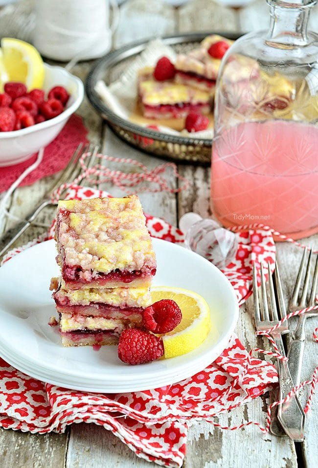 Raspberry Lemonade Bars recipe at TidyMom.net photo