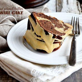 Salted Caramel Peanut Butter and Chocoalte Bundt Cake recipe at TdiyMom.net