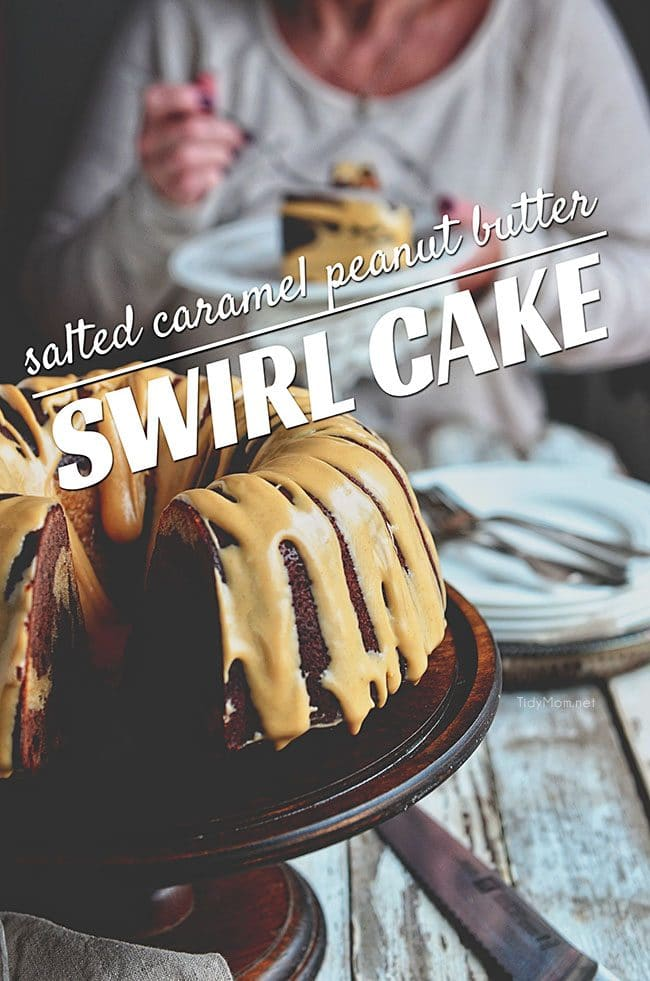 Salted Caramel Peanut Butter and Chocolate Marble bundt cake recipe at TidyMom.net