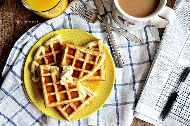 Buttermilk Waffles with coffee and newspaper