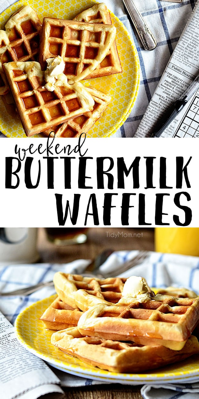 Weekend Buttermilk Waffles. Perfectly crispy on the outside and fluffy on the inside. Enjoy these waffles any day of the week! Get the full recipe at TidyMom.net #waffles #breakfast #recipe