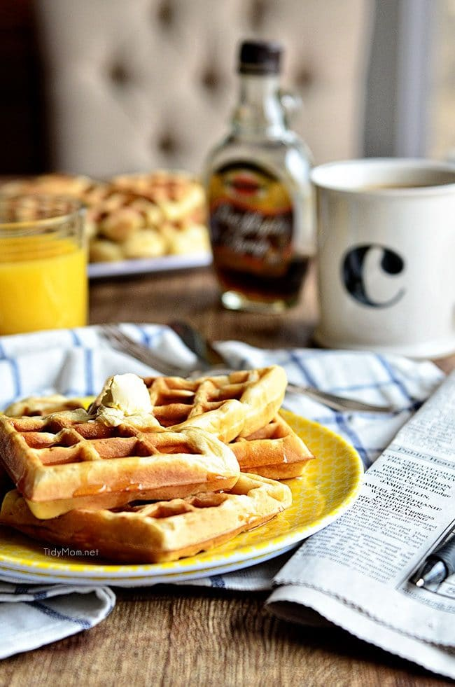 Our Favorite Buttermilk Waffle recipe at TidyMom.net