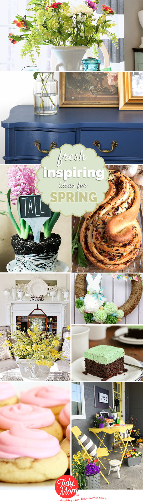 Fresh Inspiring Spring Ideas for projects, recipes and decor at TidyMom.net