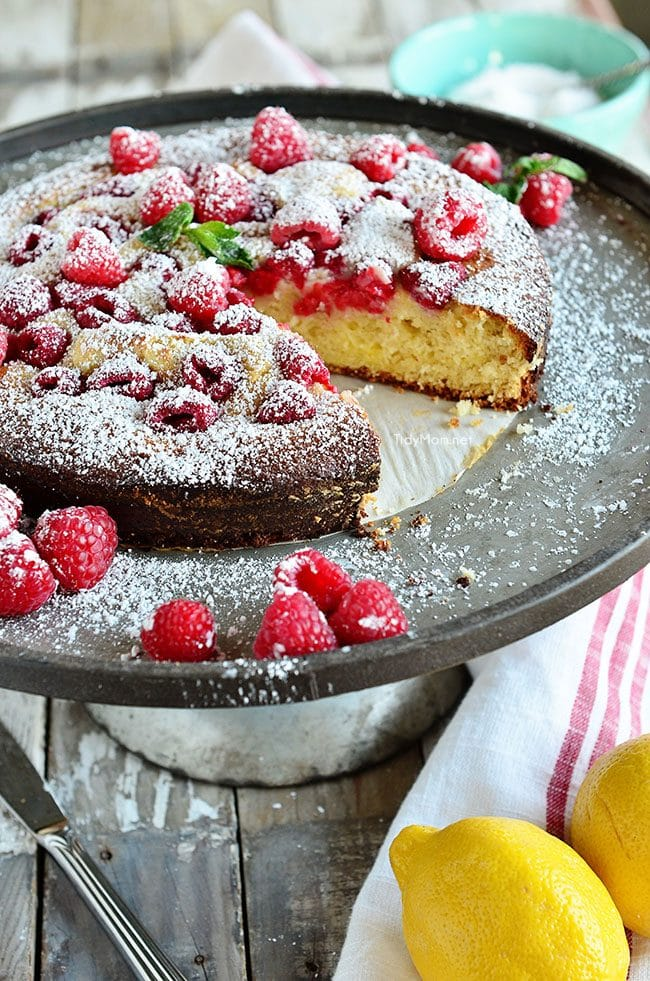 Lemon Raspberry Coffee Cake on metal cake stand
