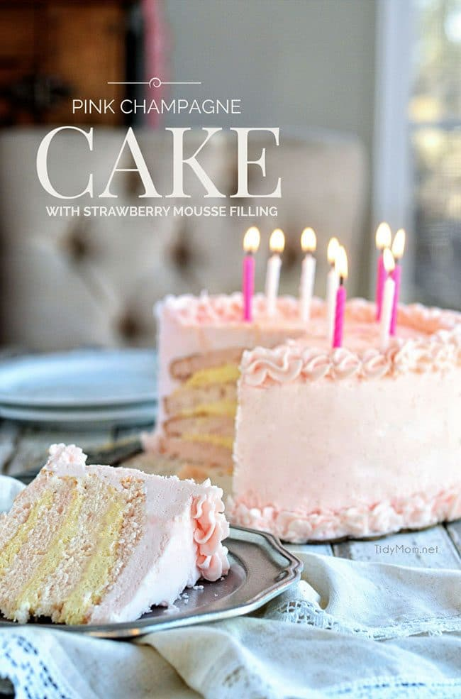 Exquisite Pink Champagne Cake with Strawberry Mousse Filling and Pink Champagne Buttercream recipe at TidyMom.net