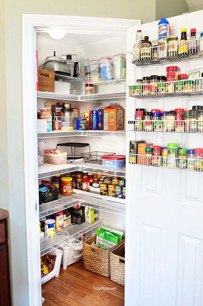 Real Life Pantry Organization- have an organized and completely functional space without spending a fortune and see what you have (and don't have) on hand. details at TidyMom.net