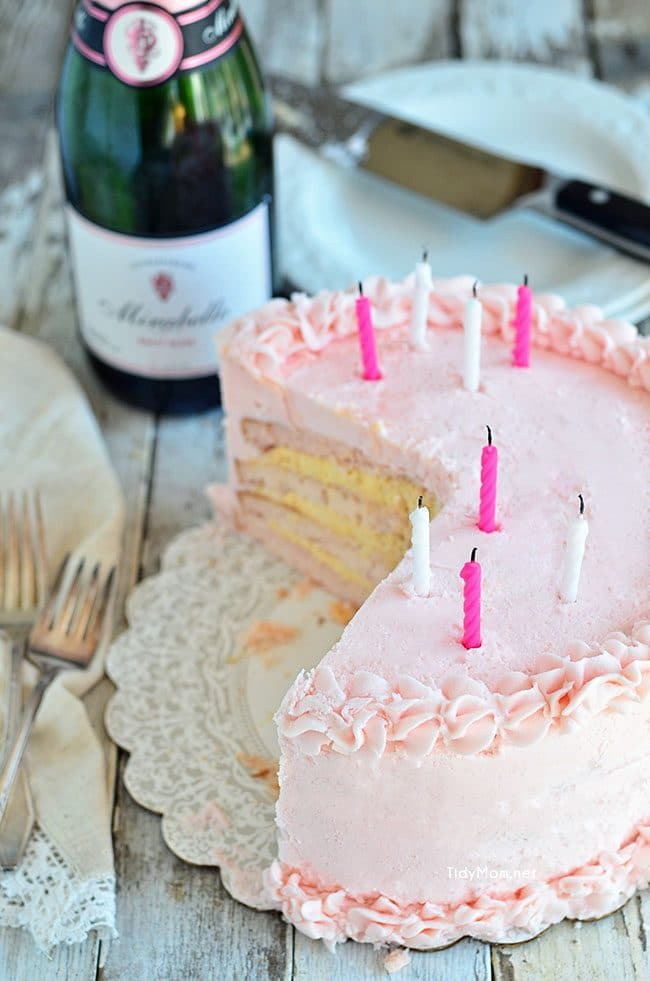 Birthday Cake with Pink Champagne Buttercream recipe at TidyMom.net