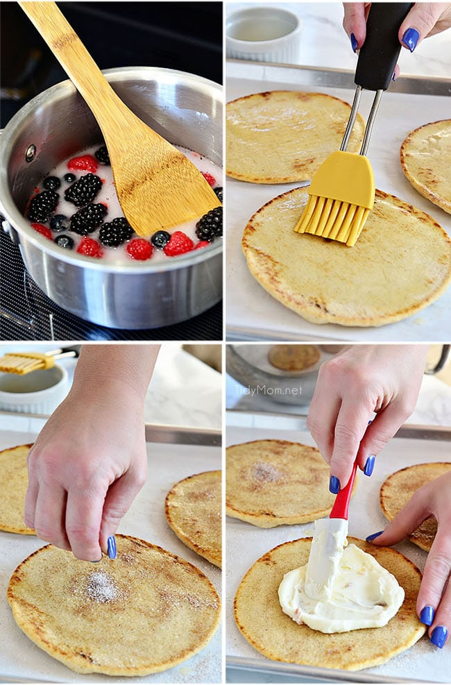 step-by-step photos of how to make mixed berry pizzas