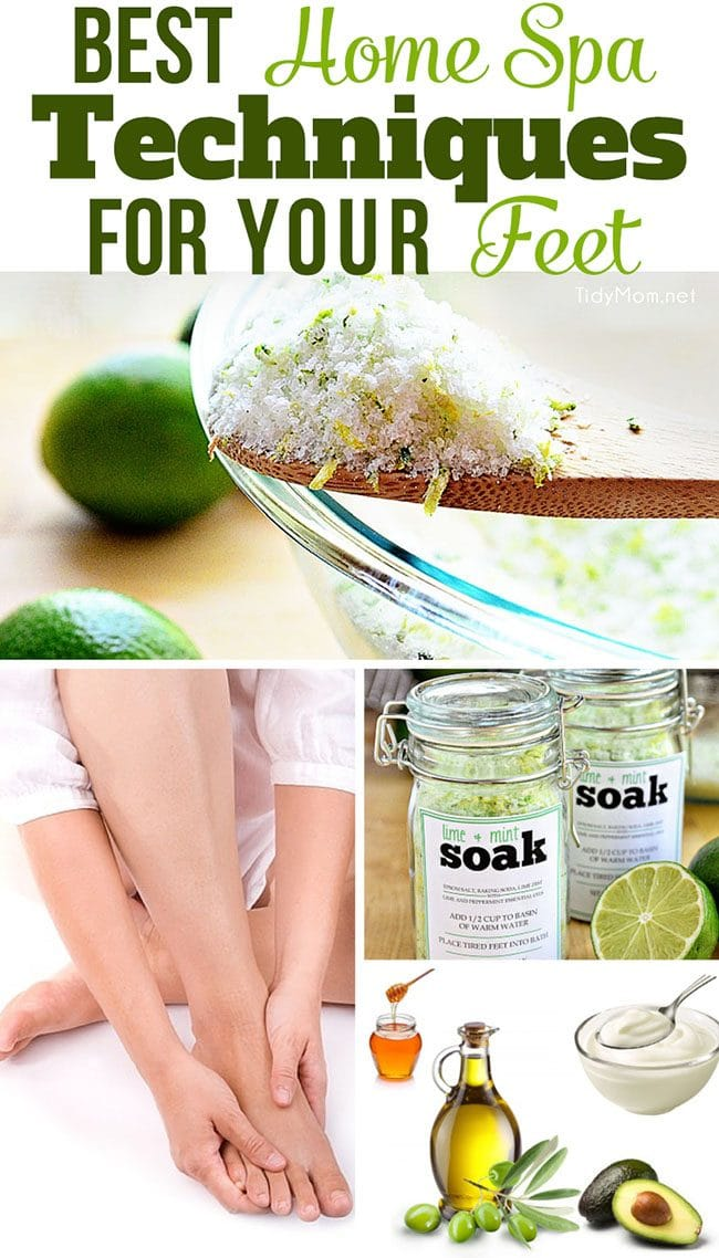 Best Home Spa Techniques For Your Feet - recipes for foot soak, sugar scrub, masque and how to massage your feet!