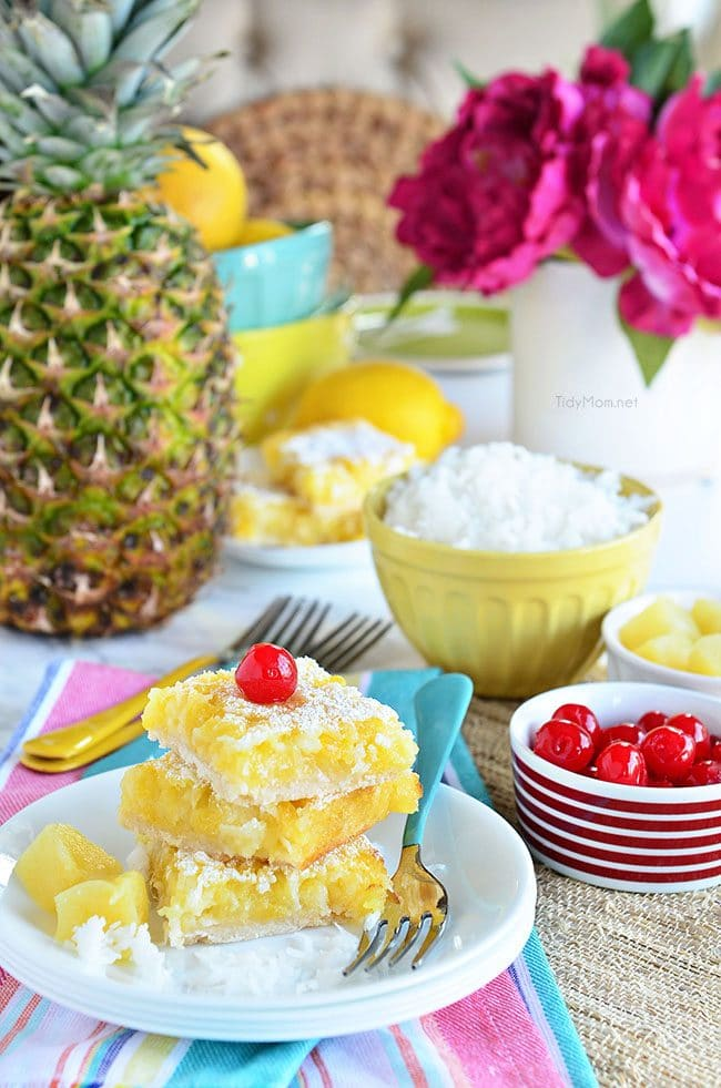 Channel the tropics and lounging on a white sandy beach, with these Pina Colada Bars. Enjoy the flavors of coconut and pineapple and consider it your ticket to a mental tropical paradise. grab the recipe at TidyMom.net