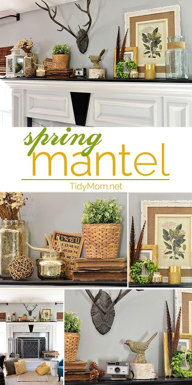 Decorating a SPRING MANTEL at TidyMom.net