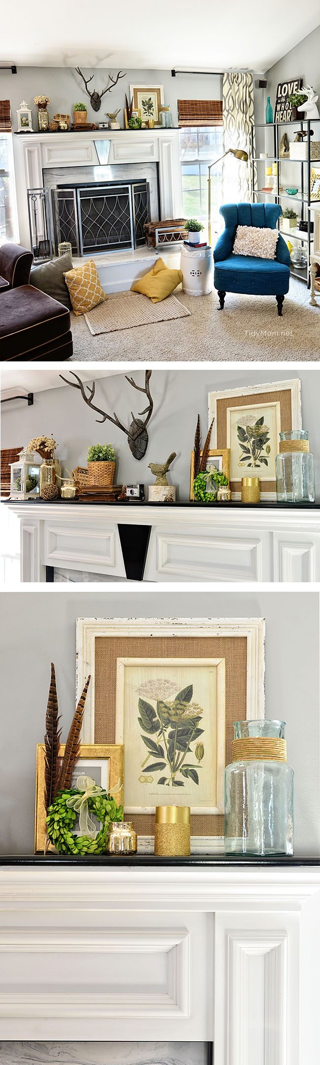 Spring Mantle and Family Room decor at TidyMom.net