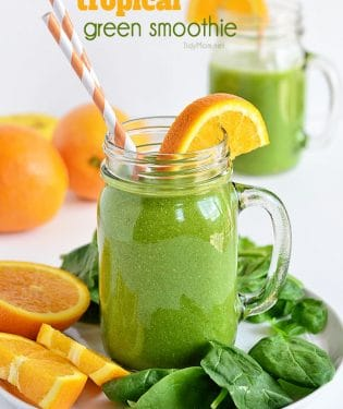 Energy Lift Tropical Green Smoothie recipe at TidyMom.net