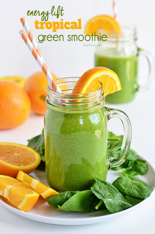 Energy Lift Tropical Green Smoothie recipe -- Find crafts, printables, recipes and more for a Back to School Meal Plan at TidyMom.net