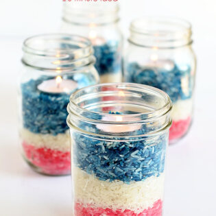 Easy Ten Minute Idea: Patriotic Colored Rice Jar Candle ceterpiece at TidyMom.net