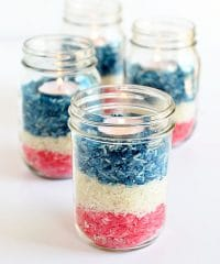 Patriotic rice jar centerpiece
