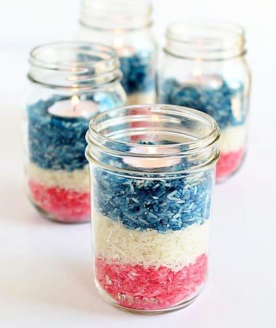 Patriotic rice jar centerpiece