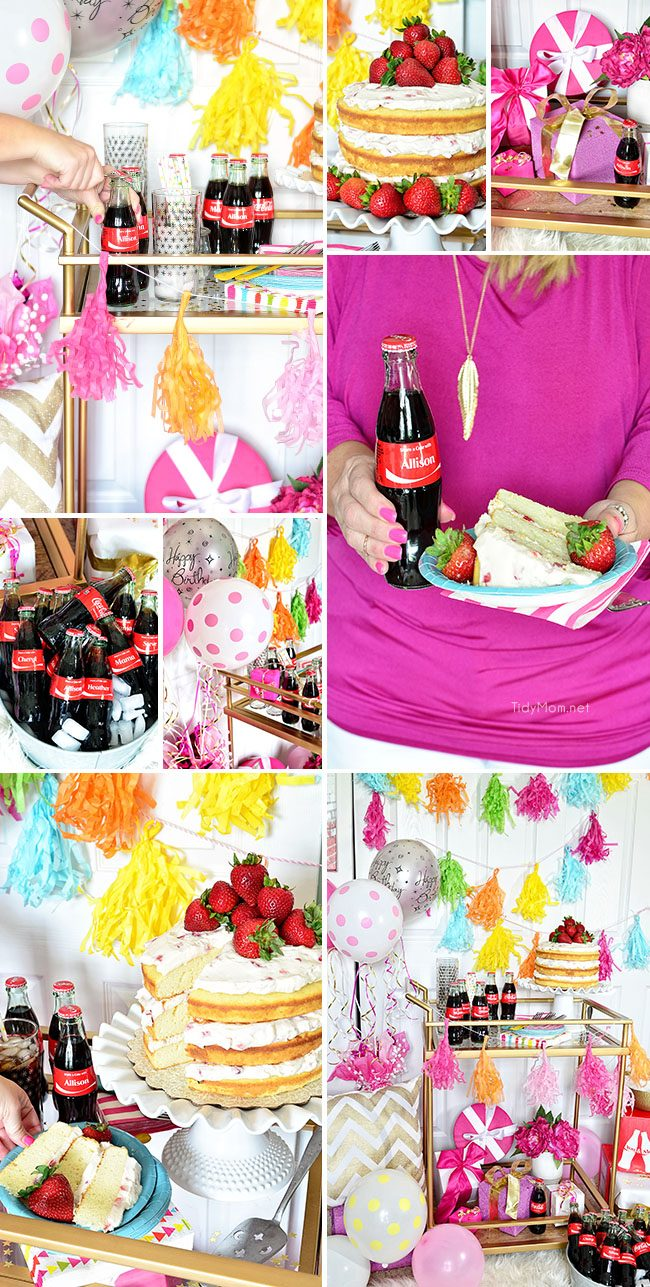 Fun Birthday Party Cart. Strawberries and Cream Naked Cake and personalized Coke bottles. recipe at TidyMom.net #ShareaCoke