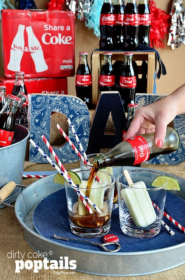 Dirty Coke Poptail; a Creamy Coconut and Lime popsicle served upside down in a class of ice cold Coke at TidyMom.net #shareacoke