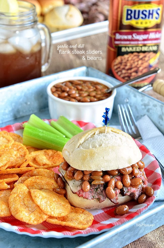 Garlic and Dill Flank Steak Sliders served along side Bush's Brown Sugar Hickory Baked Beans