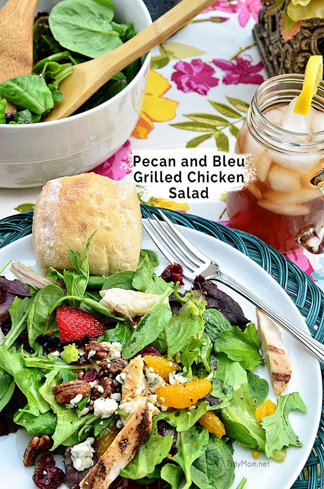 Pecan and Bleu Grilled Chicken Salad recipe inspired by O'Charley's Pecan Chicken Tender Salad