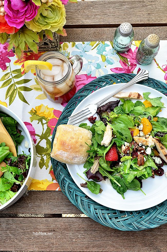 Pecan Grilled Chicken Tender Salad - O'Charley's inspired recipe at TidyMom.net