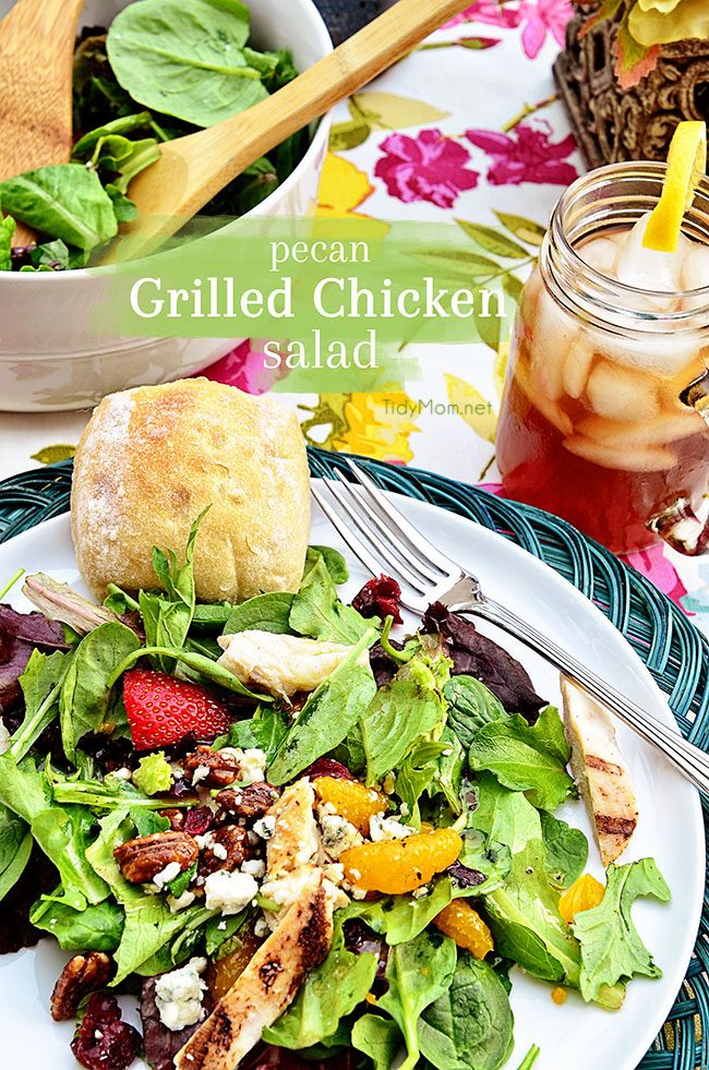 ecan Grilled Chicken Salad with a dinner roll